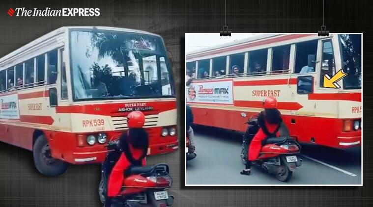 kerala. ksrtc bus overtaking wrong side, woman driver stands firmly stop bus wrong turn, viral videos, indian express, kerala news