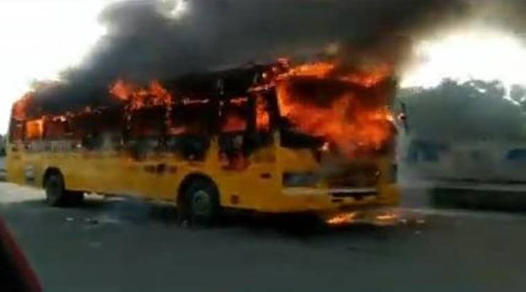 Chennai: Narrow escape for 45 college students after bus catches fire, no injuries