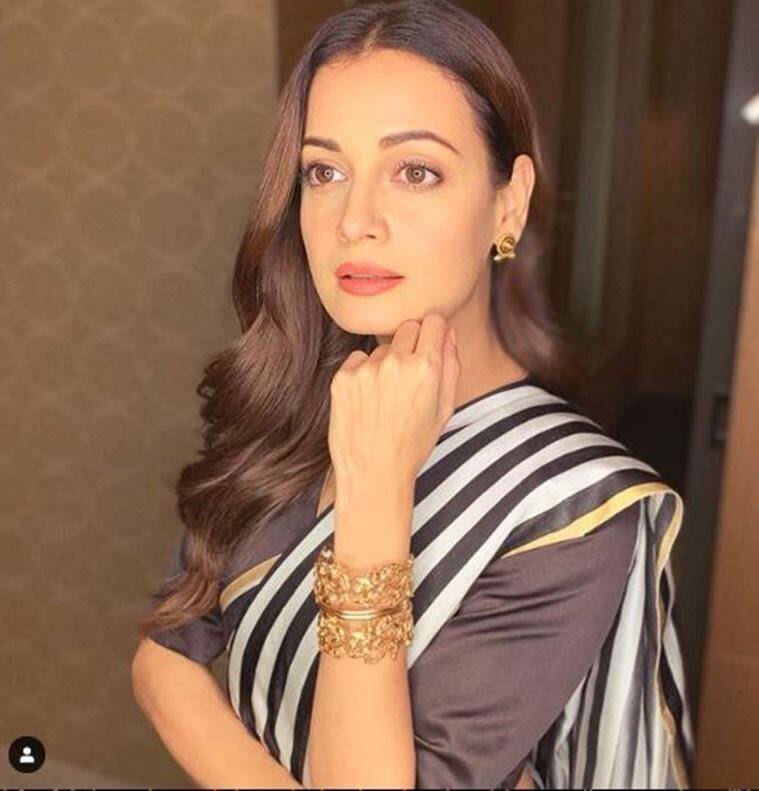dia mirza, dia mirza fashion, dia mirza looks, dia mirza raw mango, dia mirza sari pics, indian express