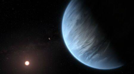 scientists discover water vapour in K2-18b exoplanet, K2-18b exoplanet orbiting red dwarf star, K2-18b exoplanet hydrogen, K2-18b exoplanet helium, K2-18b exoplanet nitrogen, K2-18b exoplanet methane