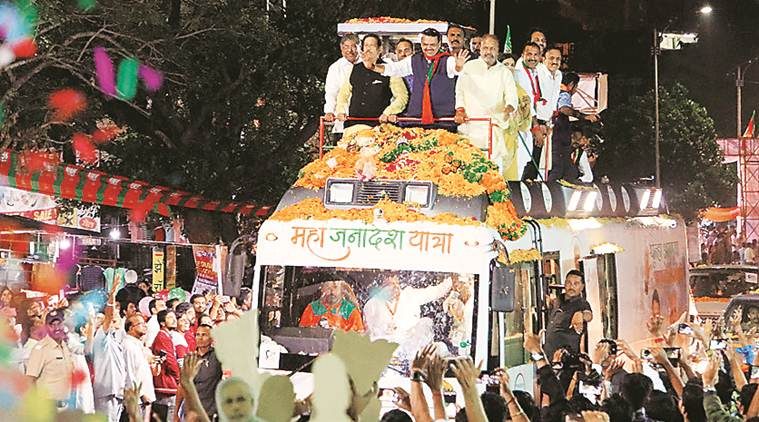 At CM roadshow in Baramati, NCP, BJP raise slogans against each other