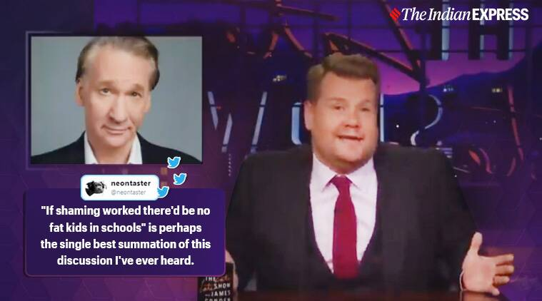James Corden, bill maher, fat shaming, The Late Late Show Thursday night, James Corden viral video, twitter reactions