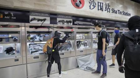 Hong Kong protests, Hong Kong protesters, Hong Kong extradition bill, Hong Kong extradition bill protests, Hong Kong Police, Hong Kong subway station damage, World news, Indian Express