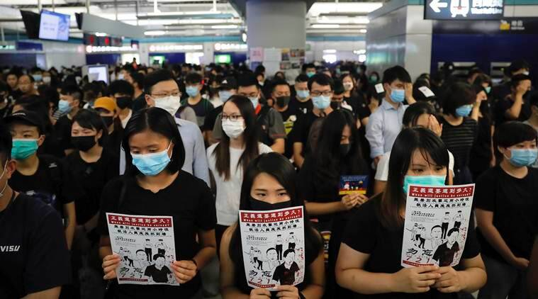 Hong Kong protests, pro democracy, pro democracy protests, New York campus, indian express