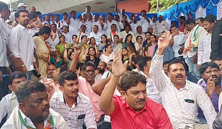 Karnataka-Bengaluru-protests-DKS-arrest-ED-Shivakumar