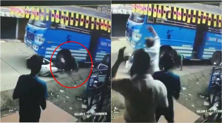 kerala man under bus, man escapes hit by bus, viral video, kerala news, indian express