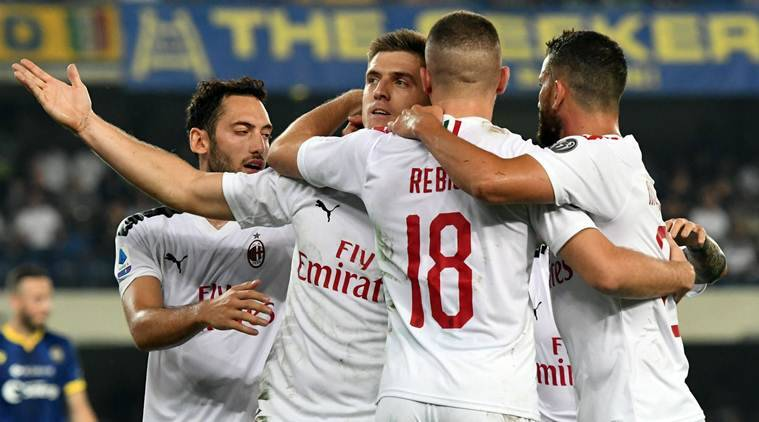 Krzysztof Piatek penalty gives AC Milan win over 10-man Hellas Verona