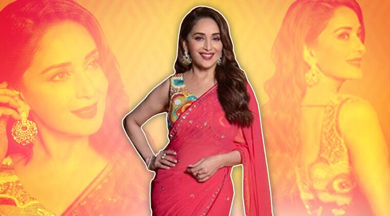 Madhuri dixit georgette sari photos