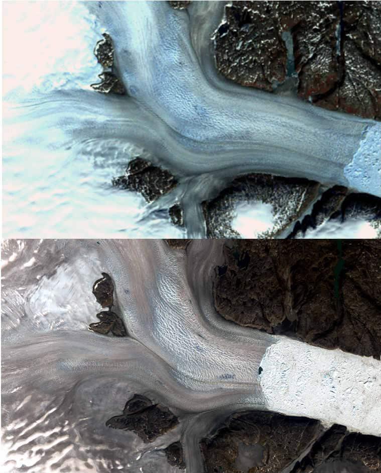 greenland glacier, nasa landsat images greenland glaciers, greenland glaciers melting, climate change glacier melt