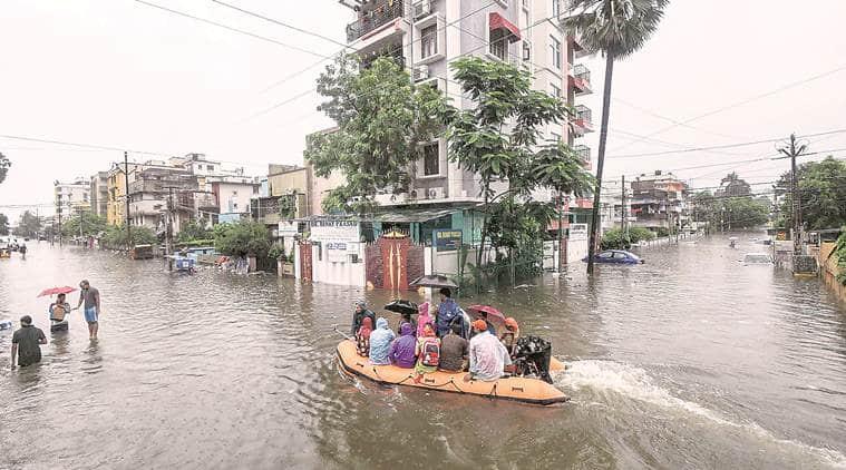 Bihar rains, Patna rains, Patna flooding, weather forecast, weather today, Nitish kumar, Weather news, Indian Express