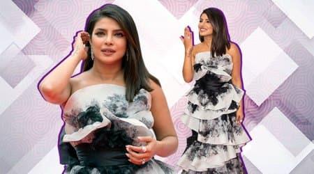 priyanka chopra, farhan akhtar, pecee, the sky is pink, tiff 2019, priyanka chopra Aishwarya rai Bachchan's Ralph & Russo dress from the 2015 Cannes Film Festival,indian express news