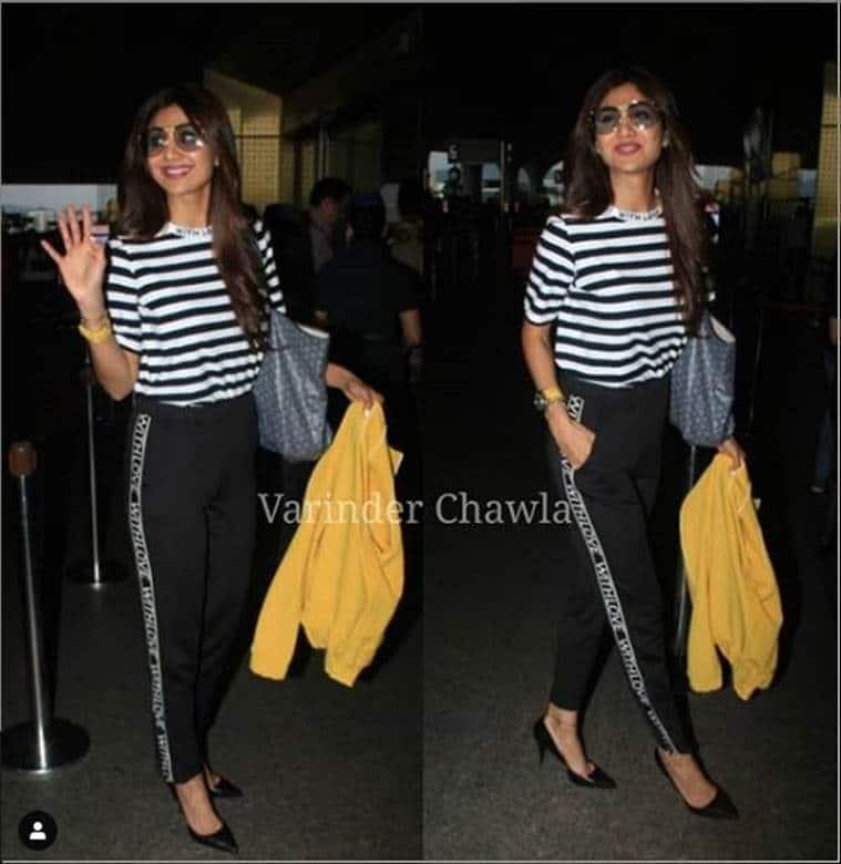 shilpa shetty, shilpa shetty kundra, airport look, indian express, indian express news