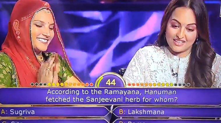 sonakshi sinha, KBC, ramayana, sonakshi sinha kbc ramyan question, sonakshi kbc answer, ruma devi sonakshi sinha kbc, indian express, viral news