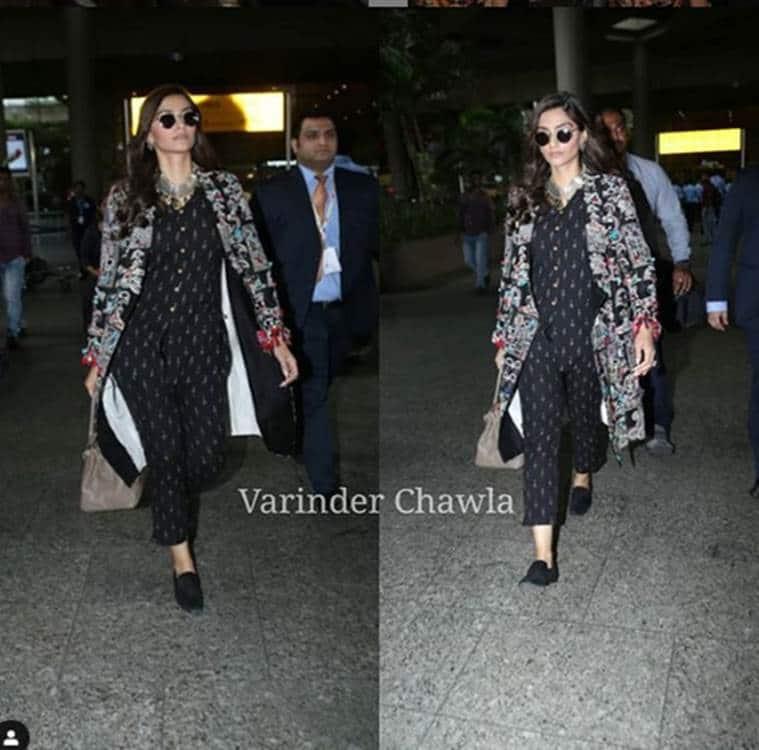 sonam kapoor, sonam kapoor ahuja, airport look, indian express, indian express news