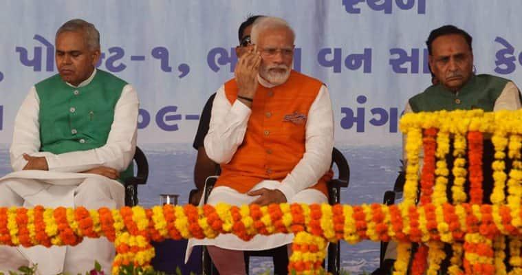 PM Modi attends Namami Devi Narmada Mahotsav in Kevadia on his 69th birthday. (Express Photo by Bhupendra Rana)