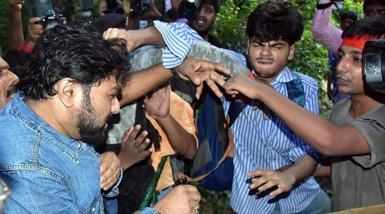 babul supriyo, babul supriyo JU student mother, Babul supriyo assault in kolkata, jadavpur university babul supriyo,babul supriyo bjp, babul supriyo ju protest, kolkata students attack babul supriyo, babul supriyo attack protest, bjp protests in kolkata, indian express news