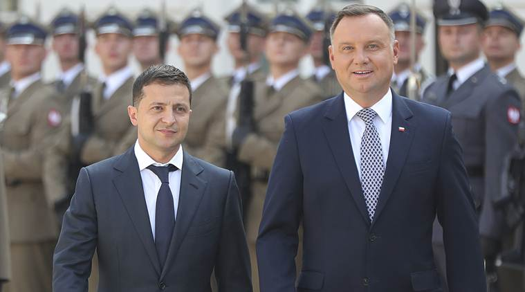 Volodymyr Zelenskiy, Ukraine President Volodymyr Zelenskiy, Volodymyr Zelenskiy Ukraine President, Ukraine president, Andrzej Duda, Poland President Andrzej Duda, Andrzej Duda Poland President, Poland president, sanctions on Russia, US sanctions on Russia, Russian sanctions, world news, Indian Express