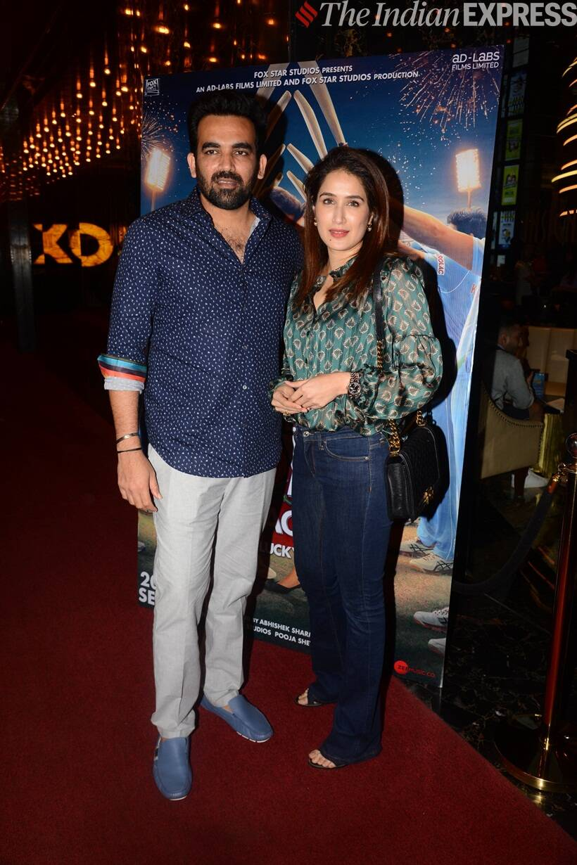 Zaheer Khan with Sagarika Ghatge The Zoya Factor screening