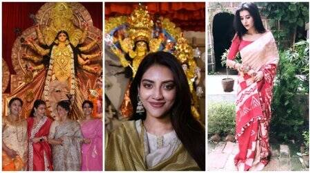 Durga Puja celebrations photos, Kajol, Nusrat Jahan