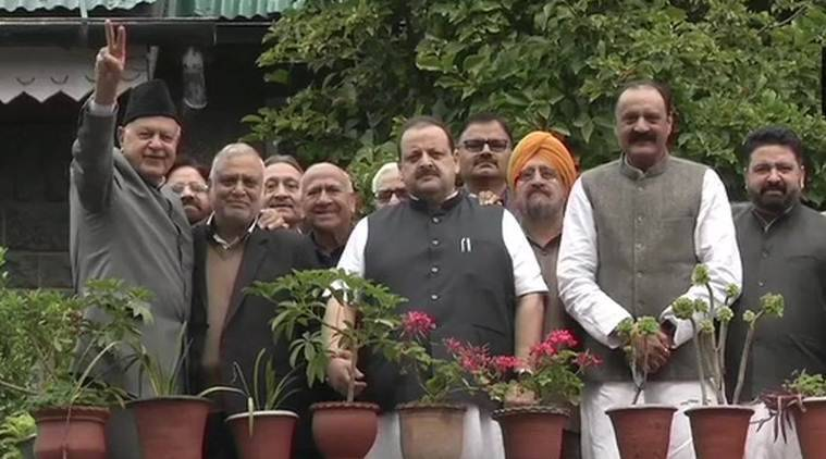 Two months into detention, Farooq Abdullah meets NC leaders; flashes 'victory' sign