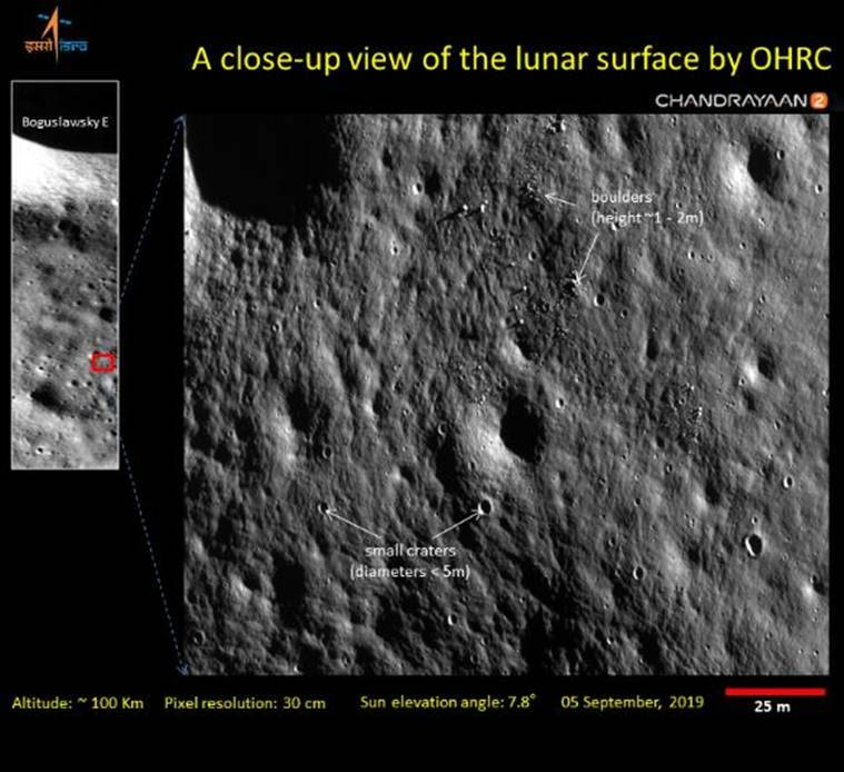 isro chandrayaan 2 images, isro, Indian Space Research Organisation, Chandrayaan 2 moon mission photos, chandrayaan 2 news, chandrayaan 2 updates, chandrayaan 2 photos, chandrayaan 2 Orbiter High-Resolution Camera OHRC, chandrayaan 2 vikram lander update
