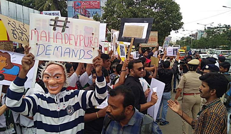 #MahadevapuraDemands: Citizens take to streets to demand basic development, infrastructure