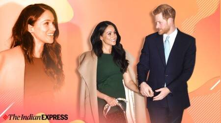 Meghan repeats engagement dress, Meghan repeats green dress, meghan engagement dress, lifestyle, duchess of Sussex, indian express, lifestyle, fashion