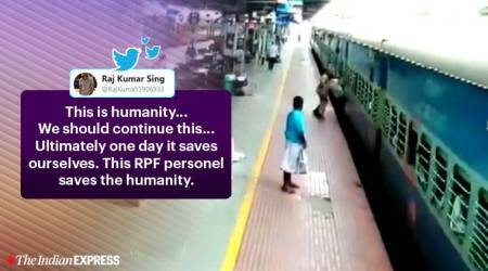 rpf cop saves man, coimbatore railway station, man slips between train and platform, railway stations in tamil nadu, trending news