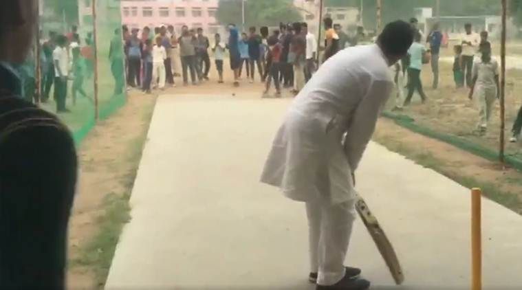 Rahul Gandhi cricket video, rahul gandhi cricket, rahul gandhi video, rahul gandhi haryana video, indian express news
