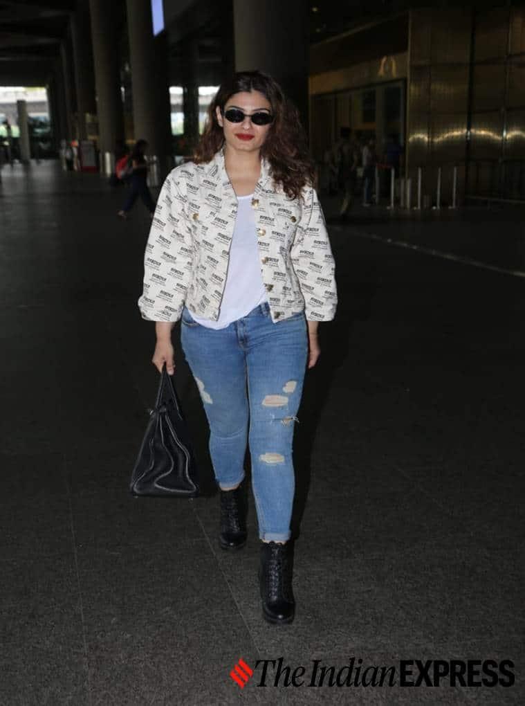Raveena Tandon, airport look, airport looks, Indian Express, Indian Express news