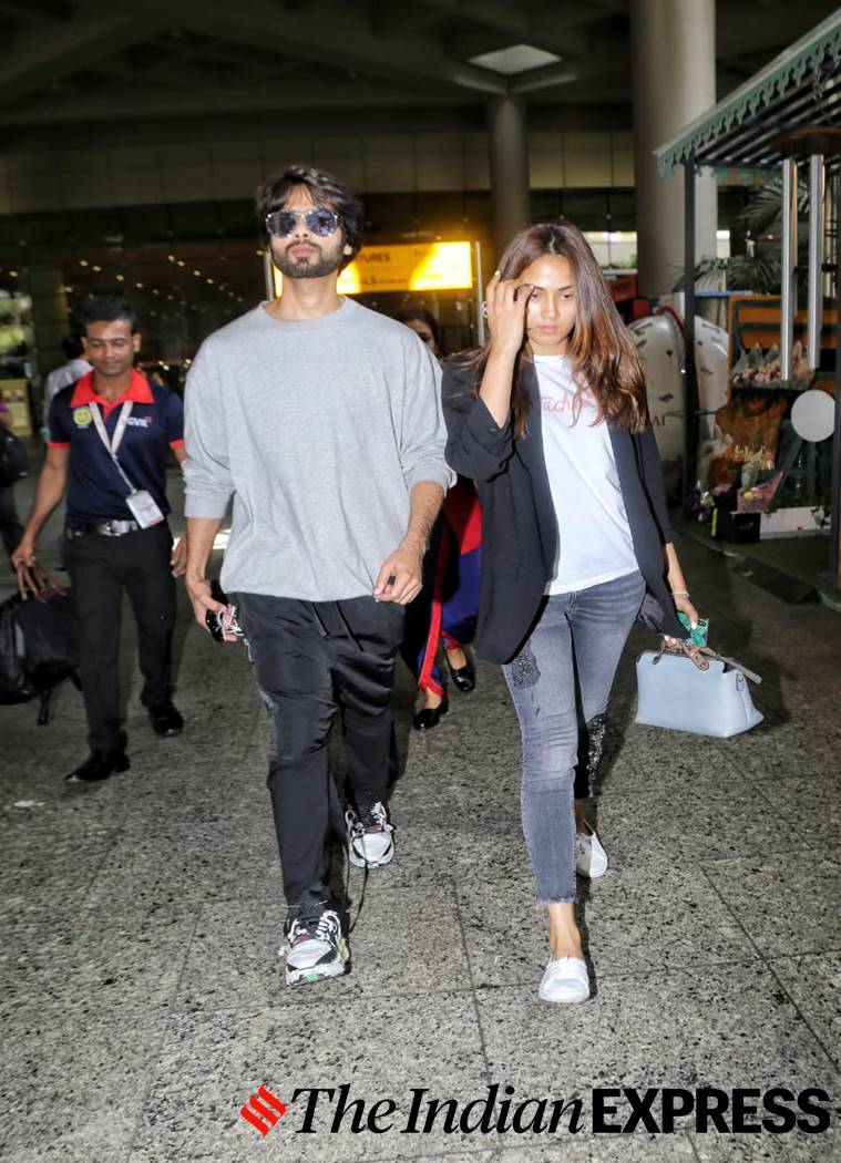 shahid kapoor, mira rajput, airport look, airport looks, Indian Express, Indian Express news
