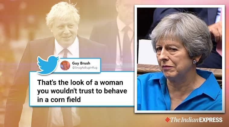 Theresa May facial expression, Theresa May during Brexit proposal, Theresa May, Boris Johnson, Brexit proposal, EU, Social media viral, Trending, Indian Express news