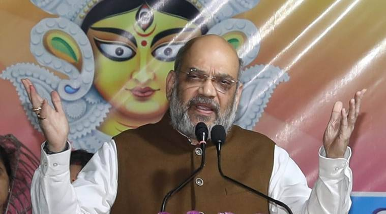 Amit Shah, Amit Shah in west bengal, amit shah on NRC, durga puja, mamata banerjee, indian express
