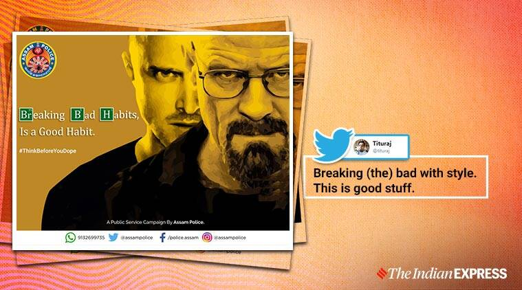 Assam Police, Assam Police Twitter, Breaking Bad, El Camino: A Breaking Bad Movie, Say no to drugs, Drug Abuse, Social media viral, Trending, Indian Express