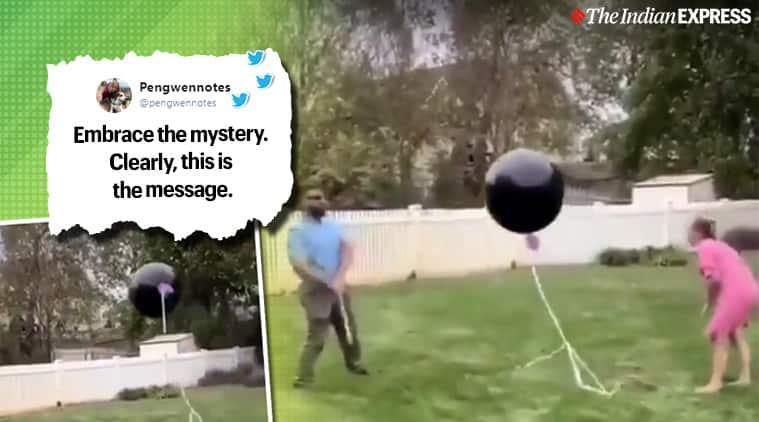 gender reveal goes wrong, couple gender reveal balloon flies away, gender reveal videos, couple viral video,