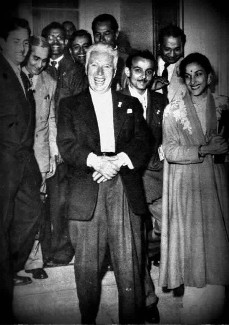 Bollywood actors and filmmakers with Charlie Chaplin
