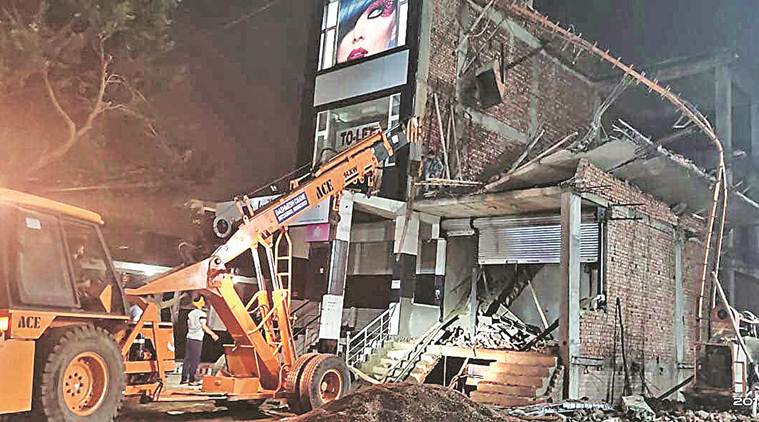 Mohali building collapse, Mohali showroom collapse, showroom collapse in Mohali, building collapse in Mohali, Chandigarh news, Indian Express