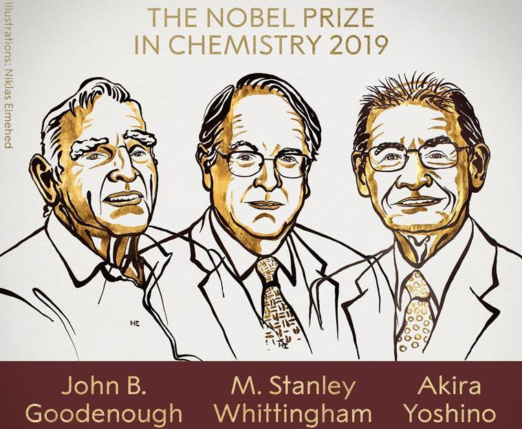 2019 Nobel Prize in Chemistry awarded to 3 scientists for development of lithium-ion batteries
