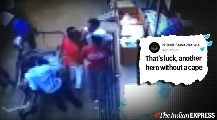 Child falls from second floor and lands on a moving rickshaw, Child survives after falling from second floor and landing on rickshaw, Madhya Pradesh, Viral video, Trending, Indian Express news