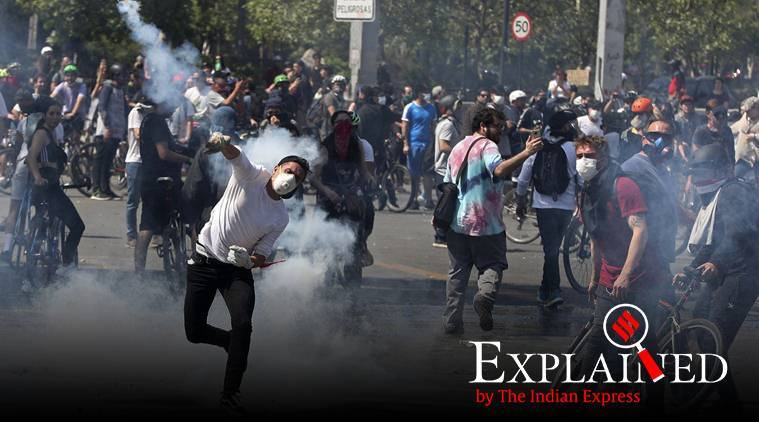 Chile protests, protests in Chile, Chile Metro fare rise protests, Chile metro fares, Chile metro fares rise, Express Explained, Indian Express