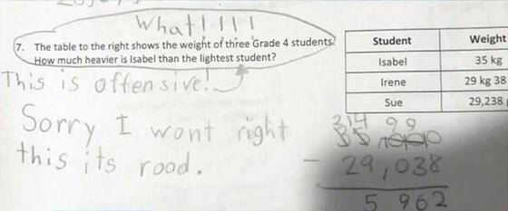 Image result for 10-years-old student earns praise for refusing to answer offensive math problem