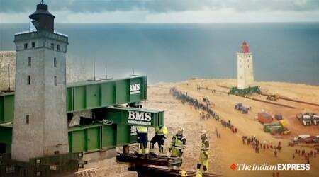 120-year-old Danish lighthouse was wheeled away to save from erosion, Denmark, Trending, Indian Express news