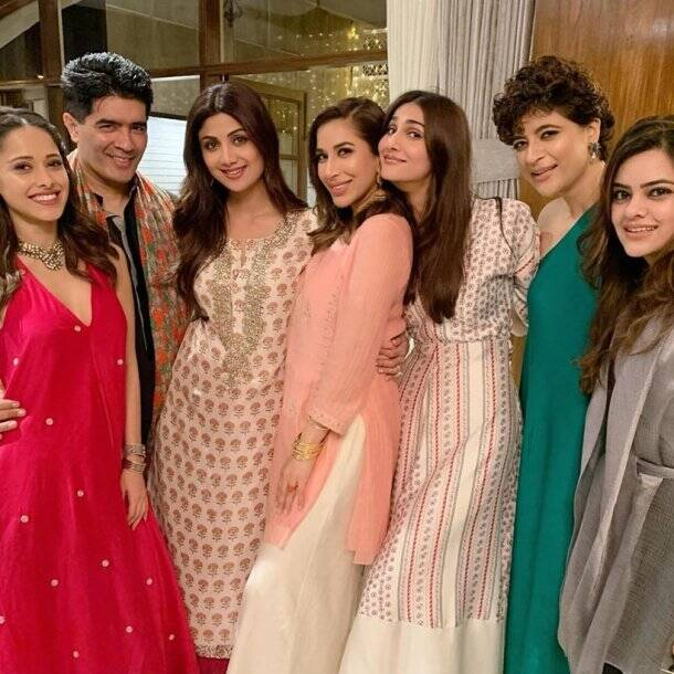 manish malhotra party, manish malhotra diwali party, shilpa shetty, vaani kapoor, nushrat bharucha, vaani kapoor nushrat bharucha, manish malhotra diwali party photos, tahira kashyap, ekta kapoor, karan johar, karan johar manish malhotra party