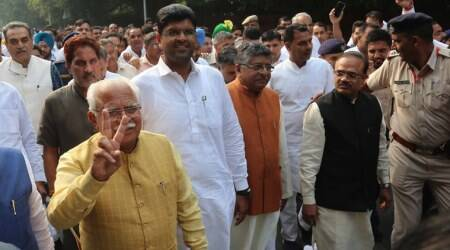 Manohar Lal Khattar, Dushyant Chautala, Haryana Chief Minister, ML Khattar, Khattar swearing in, Dushyant Chautala swearing in, JJP, BJP-JJP, Haryana Assembly elections, India news, Elections news, Indian Express