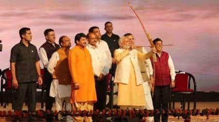 pm modi dussehra, modi dussehra celebrations, modi in dwarka, dda ground dwarka, pm modi dussehra, pm modi delhi dussehra celebrations