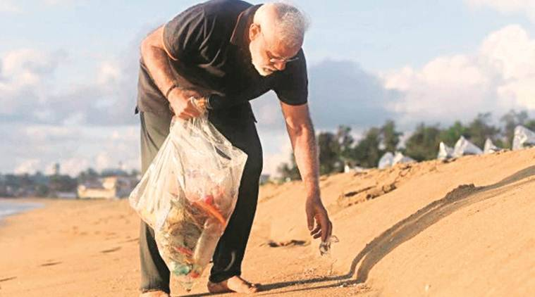 PM Modi goes plogging on Mamallapuram beach