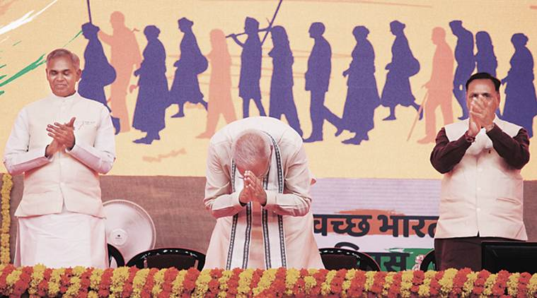 modi on open defecation free, narendra modi on gandhi jayanti, modi on Swachh Bharat Diwas, modi in ahemdabad, indian express news