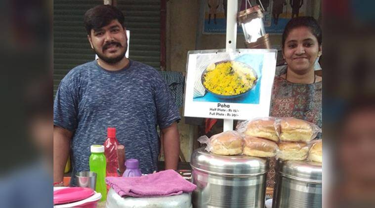 couple helps their maid, couple sell food for maid, mumbai couple manage stall for maid, good news, viral news, inspiring stories, indian express