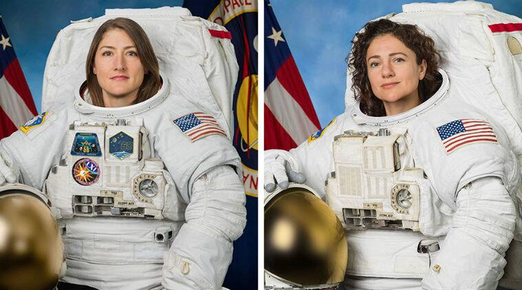 nasa, nasa spacewalk, nasa first all-female spacewalk, nasa first all-women spacewalk, nasa spacewalk outside international space station, nasa astronaut Christina Koch, nasa astronaut Jessica Meir