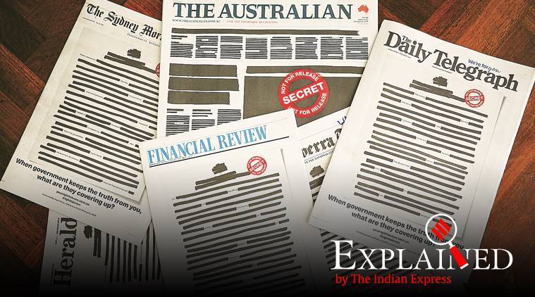 australia newspapers front pages, censorship, whistlelowers, indian express explained, latest news